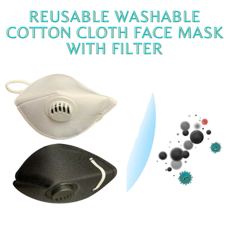 6 Pack (3 Black + 3 White) Reusable Washable Cotton Cloth Face Mask with Filter
