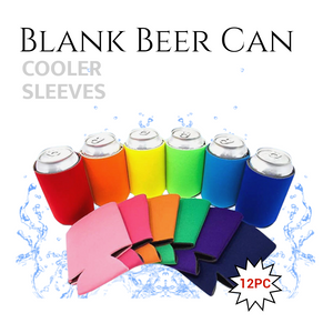 Blank Beer Can Cooler Sleeves, Plain Collapsible Soda Cover Coolies