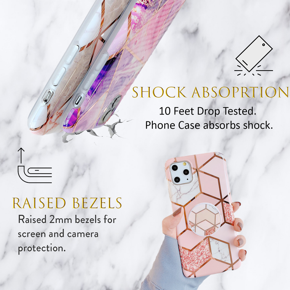 KP KOOL PRODUCTS New Marble Case Compatible with iPhone (12/12 Pro)/12 Pro Max, Geometric Marble Case Hard PC Bumper Protective & Shockproof Shell Cover (12 Pro Max, Blue)