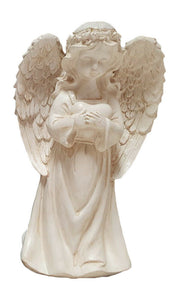 ANGEL HOLDING HEART FIGURINE WITH SOLAR LIGHT