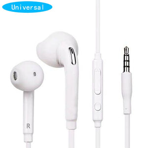 White Wired Headset In-ear Earphone with Mic for Samsung Galaxy S6 3.5mm Jack Headphone for Mobile Phone