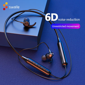 Swalle Bluetooth 5.0 Wireless Sports earphone Stereo Subwoofer Hanging Neck Hanging Metal Magnetic Bluetooth Headphone