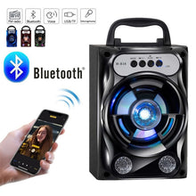 Load image into Gallery viewer, Protable Bluetooth Speaker Wireless Bass Stereo Sound System With Led Light Speaker Support TF Card FM Radio Outdoor Travel