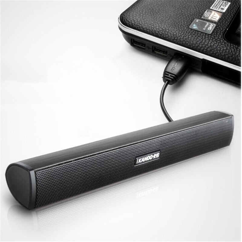 iKANOO HOT SALES Portable Laptop/Computer/PC Speaker Subwoofer USB Soundbar Sound Bar Stick Music Player Speakers For Tablet