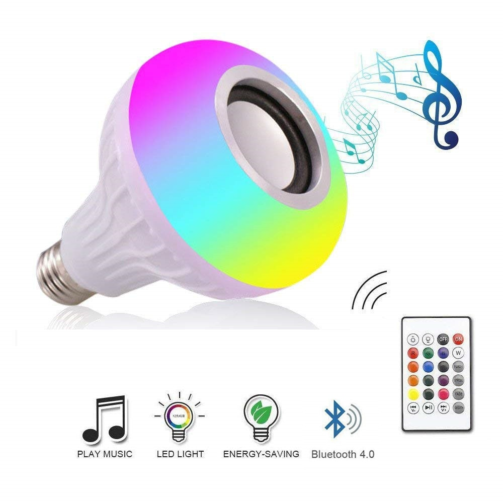 DZLST Bluetooth Speaker Smart LED Bulb E27 RGB Light 12W Music Playing Dimmable Wireless Led Lamp with 24 Keys Remote Control