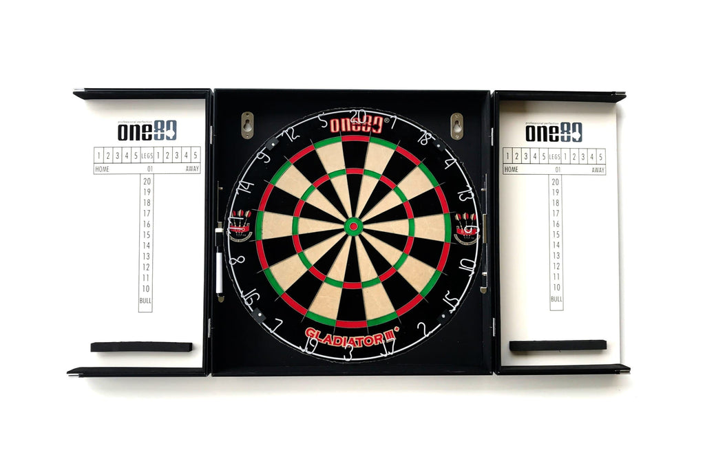 ONE80 Aluminium Cabinet (BLACK) & Gladiator 3+ Dartboard - Darts Direct