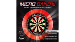 Formula Micro Band 3 Bristle Dartboard & Solid Wood Dartboard Cabinet Pack (Black) - Darts Direct