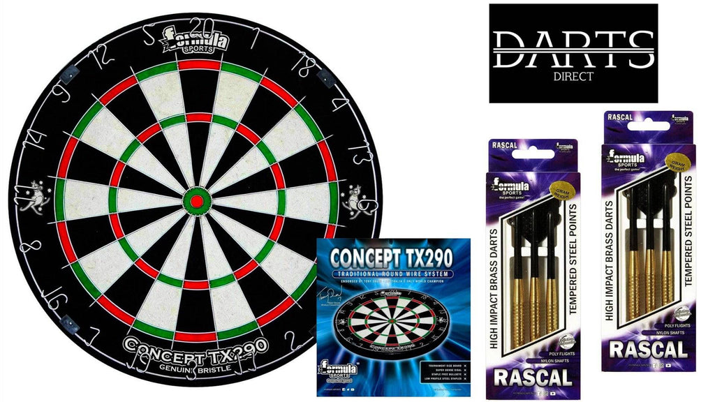 Formula Concept TX290 Dartboard & Brass Darts Pack - Darts Direct