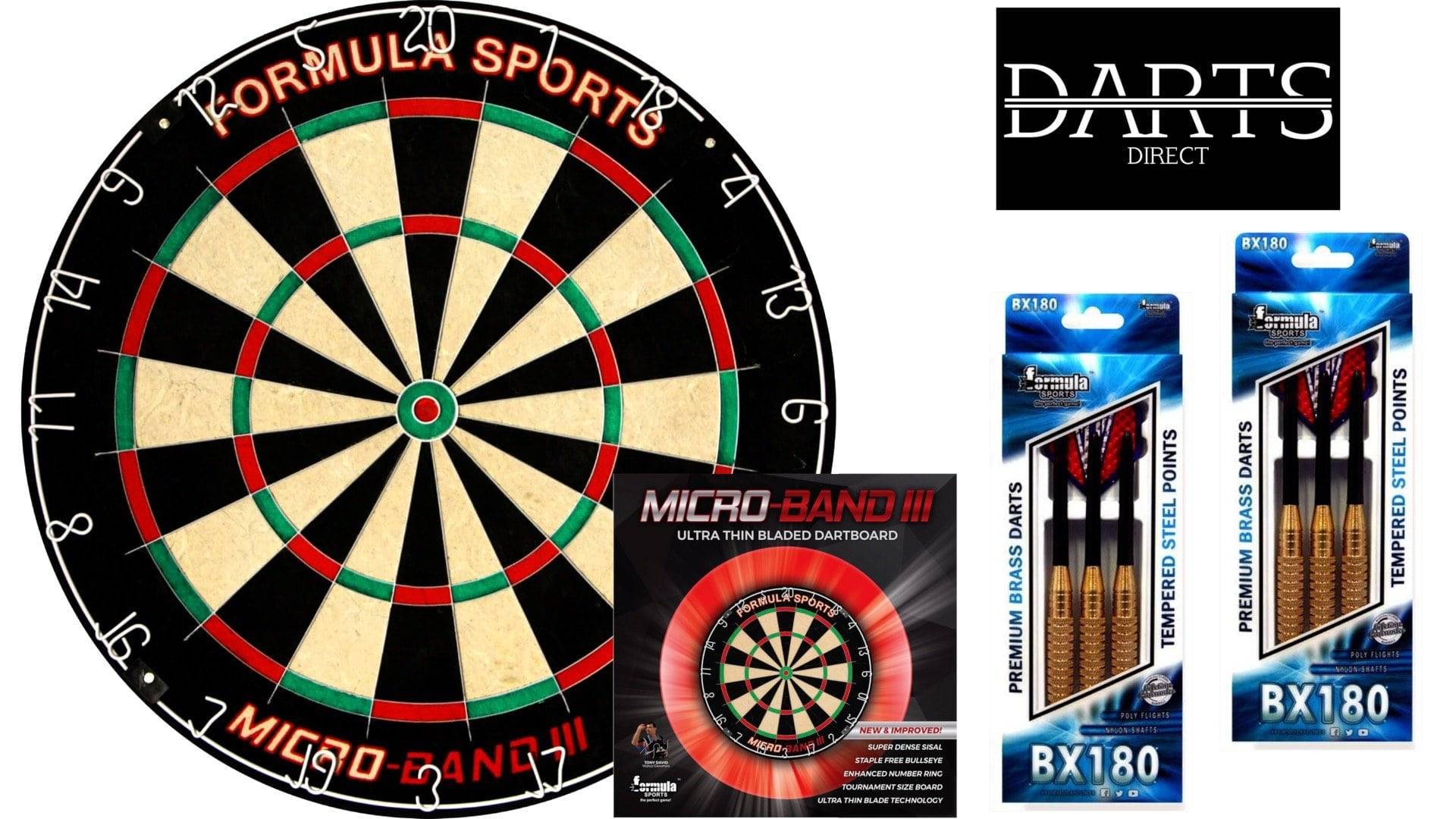 Formula Micro band 3 Dartboard & Premium Brass Darts Pack - Darts Direct