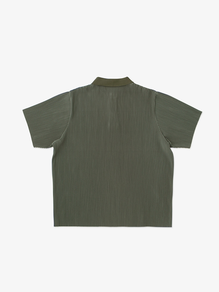 FINE PLEATED POLO SHIRT<br>GREEN