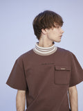 HIGH NECK BORDER POCKET T-SHIRT