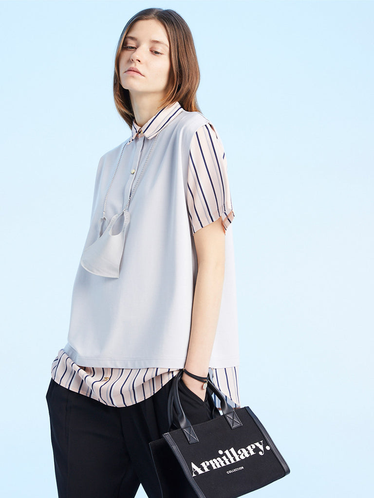 STRIPED DOCKING CUT TOPS<br>GRAY x PINK