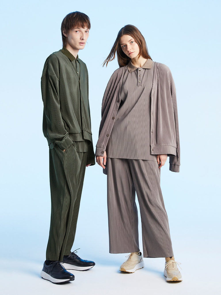 FINE PLEATED CUT PANTS<br>GREEN