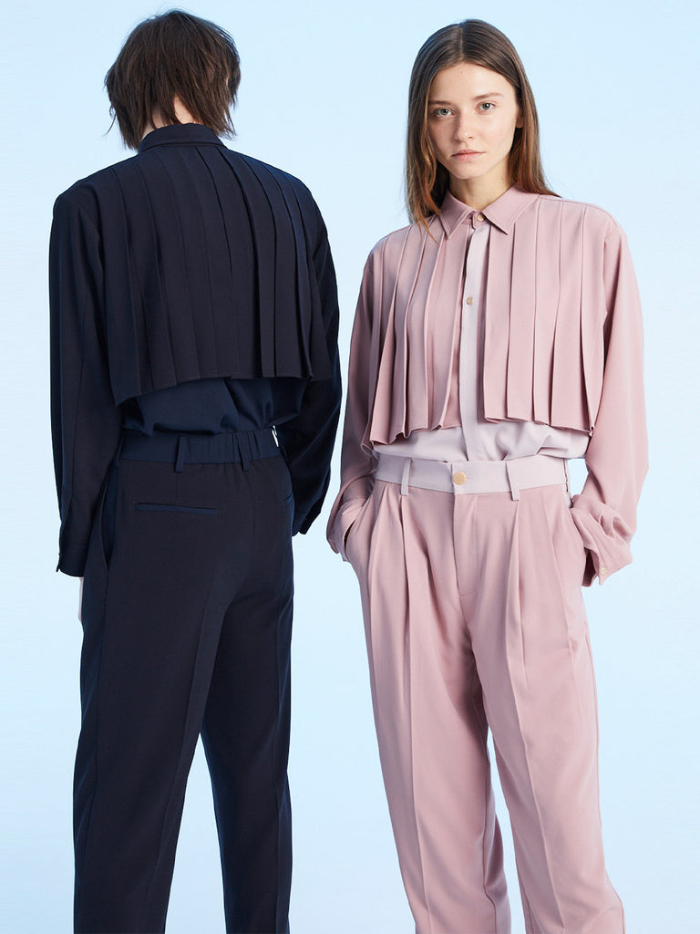 CHEST PLEATED SHIRT<br>DARK PINK x LIGHT PINK