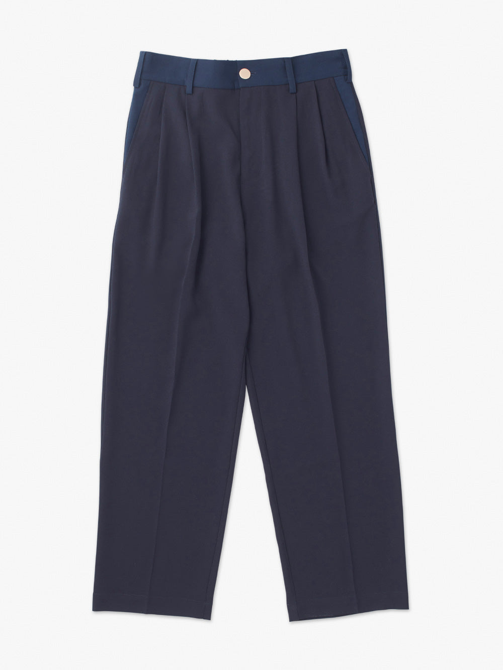 STRAIGHT TUCK PANTS<br>DARK NAVY x LIGHT NAVY
