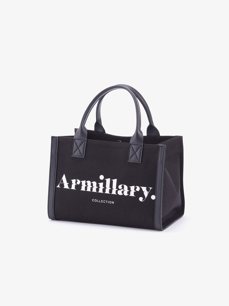 Armillary. MINI CANVAS TOTE BAG<br>BLACK