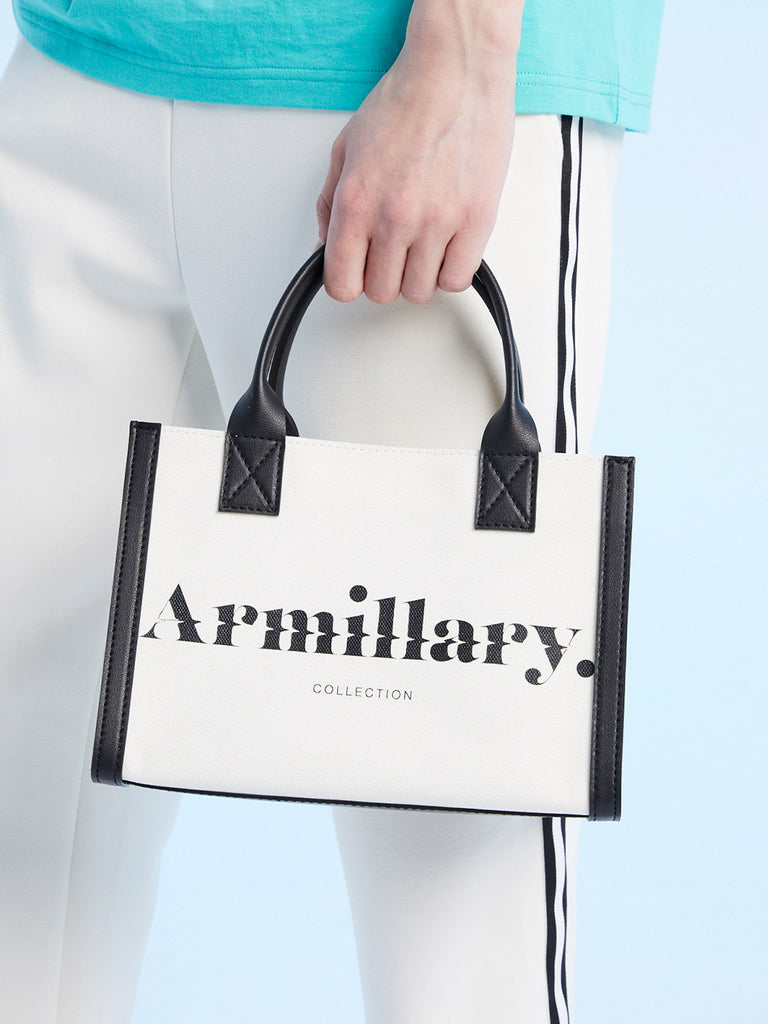 Armillary. MINI CANVAS TOTE BAG<br>WHITE