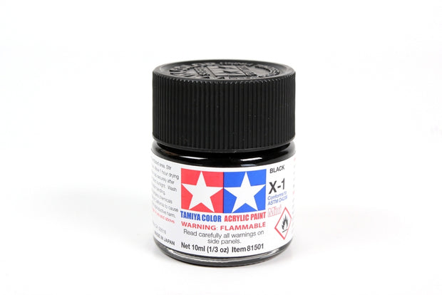 Tamiya Acrylic Paint 1/3oz. Black X1