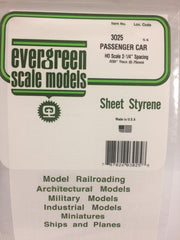 "Styrene Sheet Passenger Car HO .030"" .75mm"