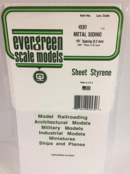 Styrene Sheet Metal Siding .125 Spacing