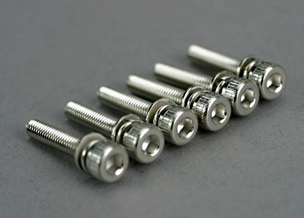 Screws, 3x15mm cap-head machine (hex drive) (with split and flat washers) (6)