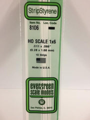 Styrene Strip  HO Scale 1x6