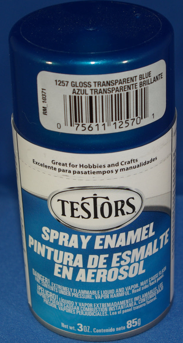 Testors 3oz Spray Enamel Gloss Trans Blue