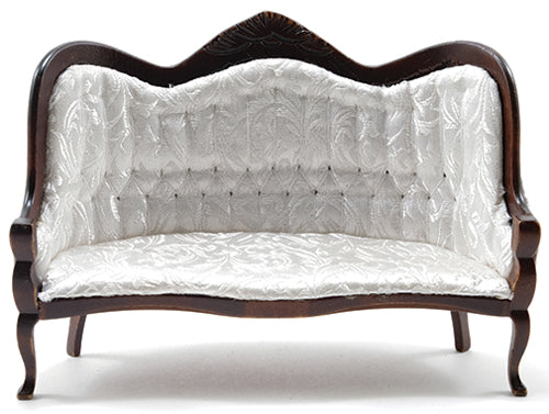 Victorian Couch, White and Mahogany