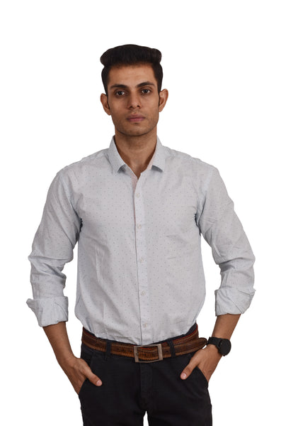 MEN'S REGULAR FIT  POLKA  SKY  PRINTED SHIRT