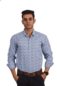 MEN'S REGULAR FIT  BLUE LEAF PRINTED SHIRT