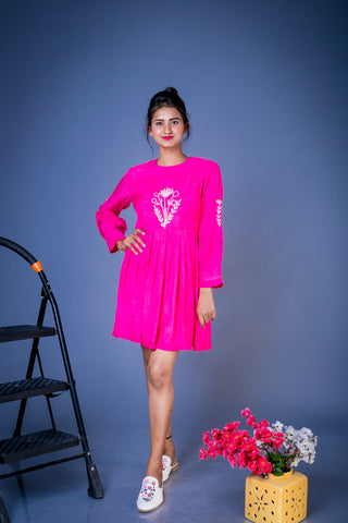 Floral Embroidred Pink Top