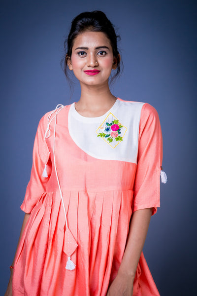 peach embroiderd top