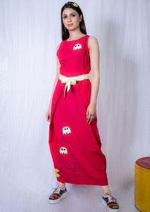 Pac-man Magenta Kielo Wrap Dress