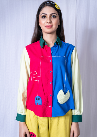 Pac-man Multi color Full Sleeves Shirt