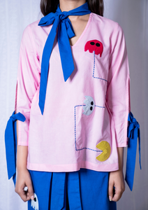 Pac-man Knotted Sleeves Top