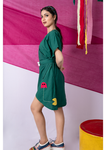 Pac-man Park Green One Piece Dress