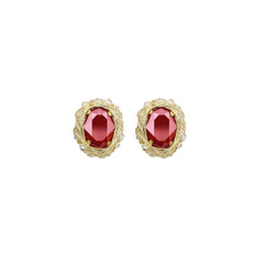 Royal Series | Classic Oval Stud Earrings | Red