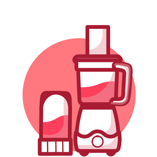 Illustrated pink Magic Bullet  Kitchen Express with second blender  attachment