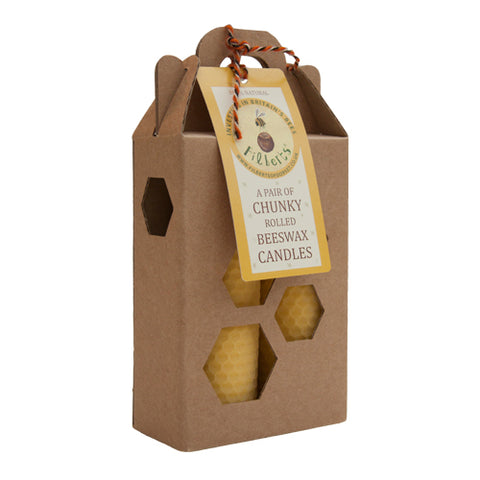Filberts of Dorset Two Chunky Rolled Beeswax Candles in a Kraft Gift Box BRAND NEW ONLINE!!