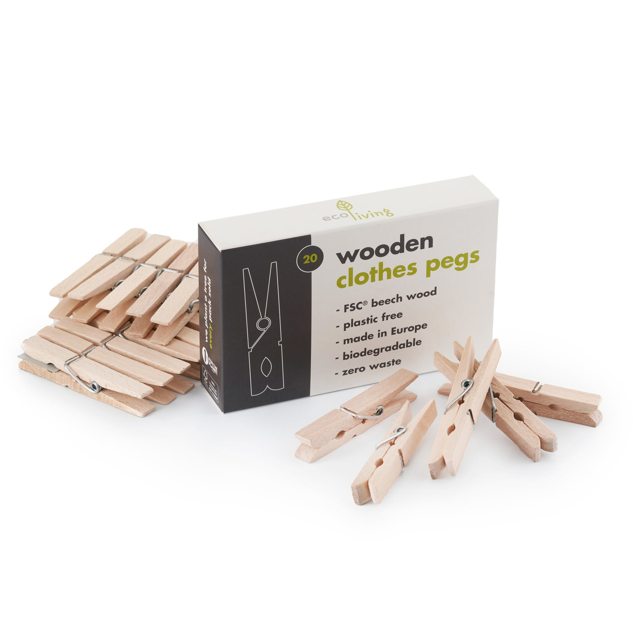 Eco Living Wooden Clothes Pegs NEW ONLINE!!