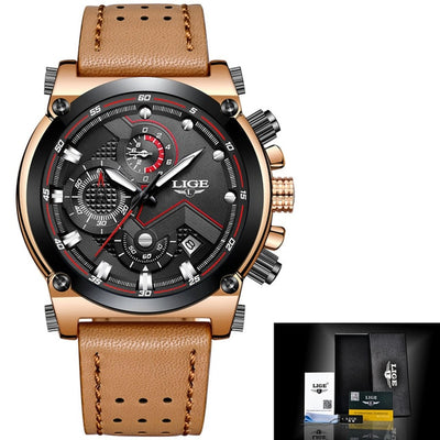 Male Leather Automatic date Quartz Watch