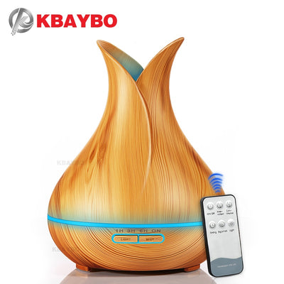 Ultrasonic Air Humidifier with Wood Grain 7 Color Changing