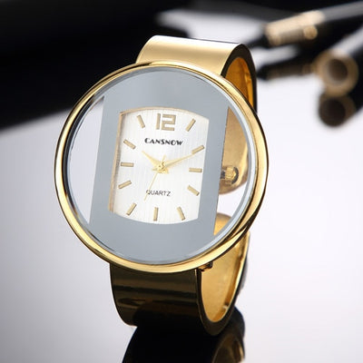 Gold Silver Dial Lady Dress Watch