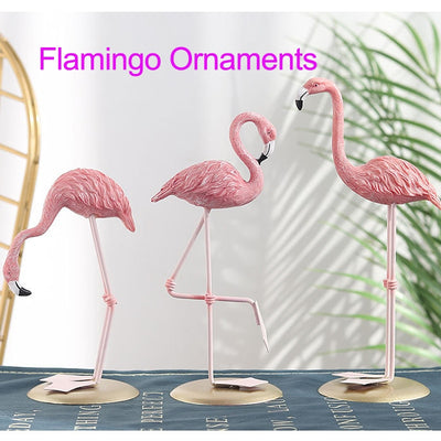 3 Patterns Pink Flamingo Cute Animal Shape Resin Ornament