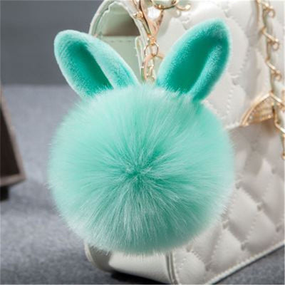 Fake Rabbit fur ball key chain