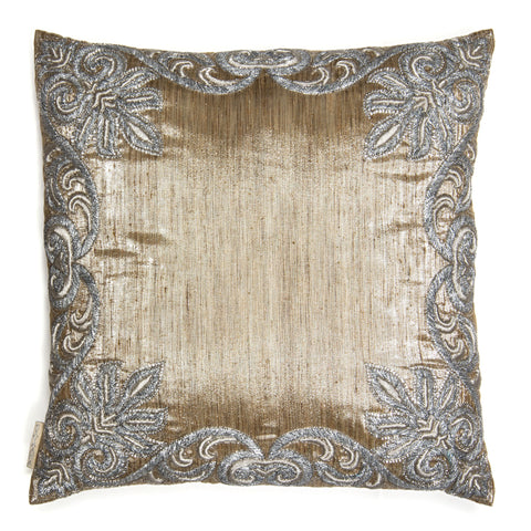 Silver Embroidered Silk Pillow- 1353