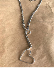Load image into Gallery viewer, Silver heart toggle necklace