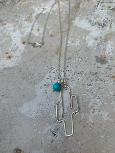 Sterling saguaro with turquoise dangle