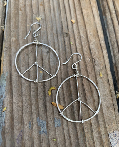 Small sterling peace hoops