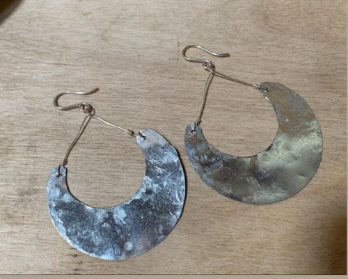 Super light silver crescent earrings